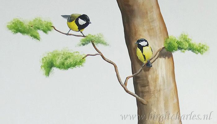 Vogels muurschildering