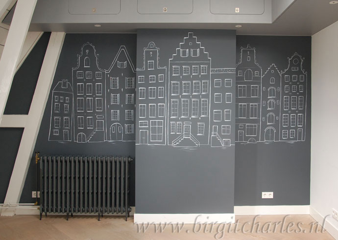 amsterdamse huisjes muurtekening wanddecoratie
