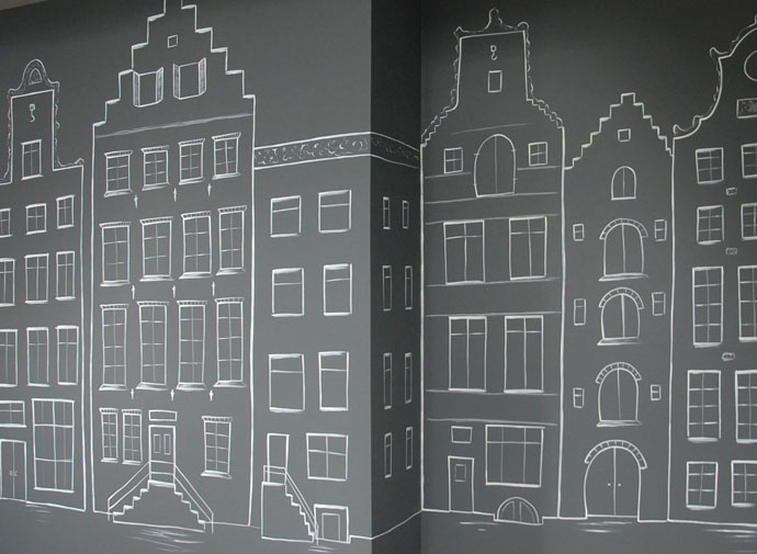Amsterdamse huisjes - muurtekening wanddecoratie