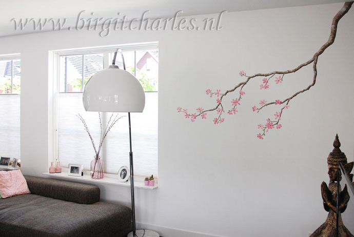 Japanse bloesem woonkamer for - Deco muurschildering ...