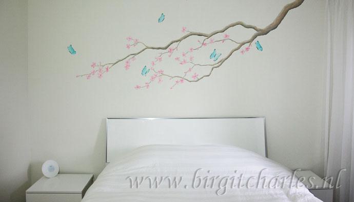 Muurschilderingen Voor Slaapkamer : Bloesem muurschildering voor een romantische kamer