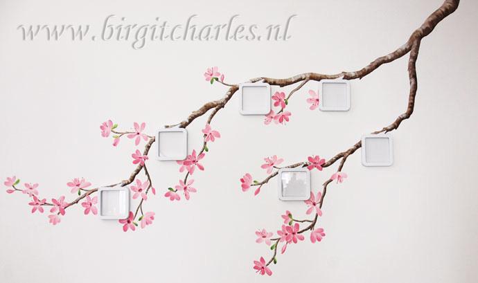 Bloesem muurschildering voor een romantische kamer - Schilderij romantische kamer ...