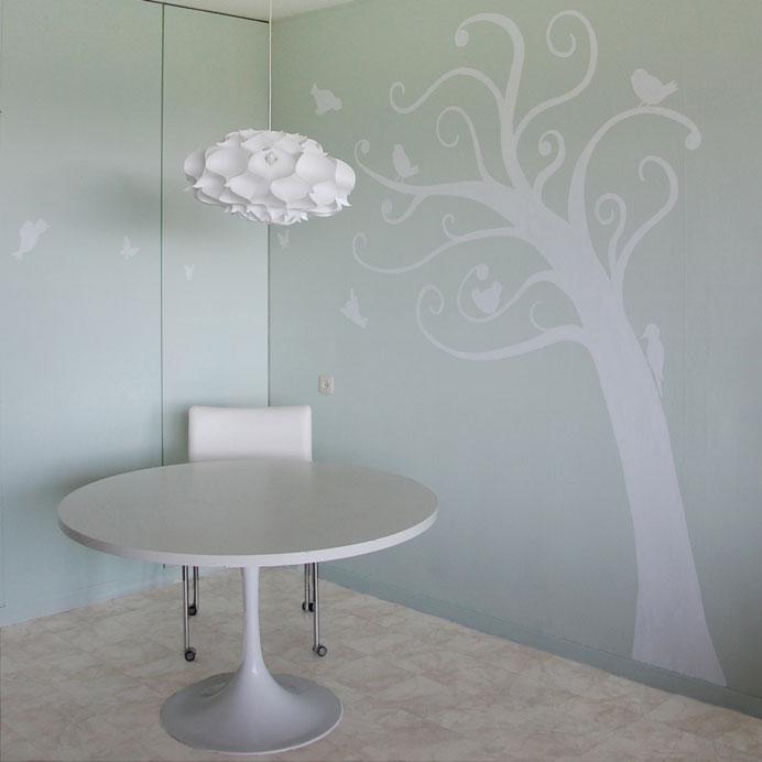 Boom muurschilderingen interieur woonkamer