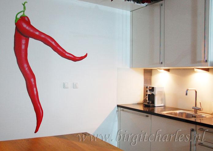 Keuken muurdecoratie pepers wanddecoratie muurschildering