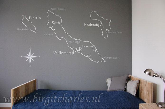 landkaart wanddecoratie op structuur geschilderd
