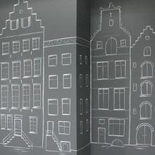 amsterdamse huisjes muurtekening