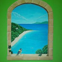 landschap muurschildering middellandse zee