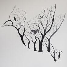 takken vogels muurschildering