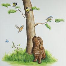 vogels hond muurschildering