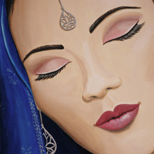 vrouw gezicht muurschildering